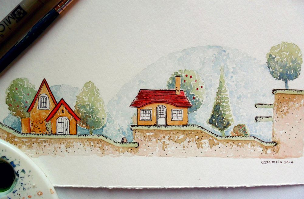 watercolor & ink - image 1 - student project