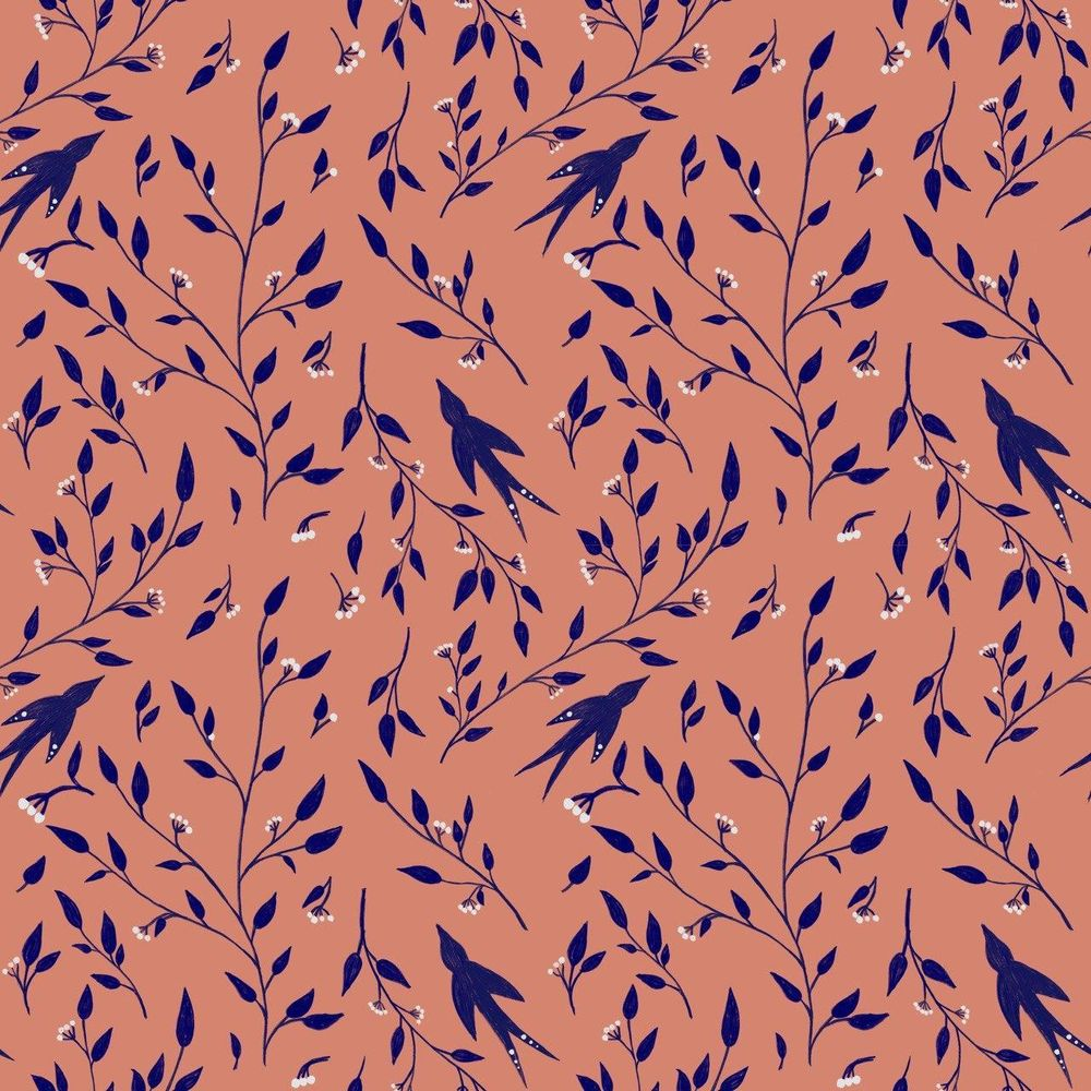 red olives and birds pattern - image 1 - student project