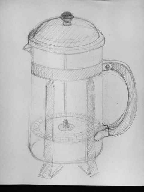 Sketch of french coffee press - image 1 - student project