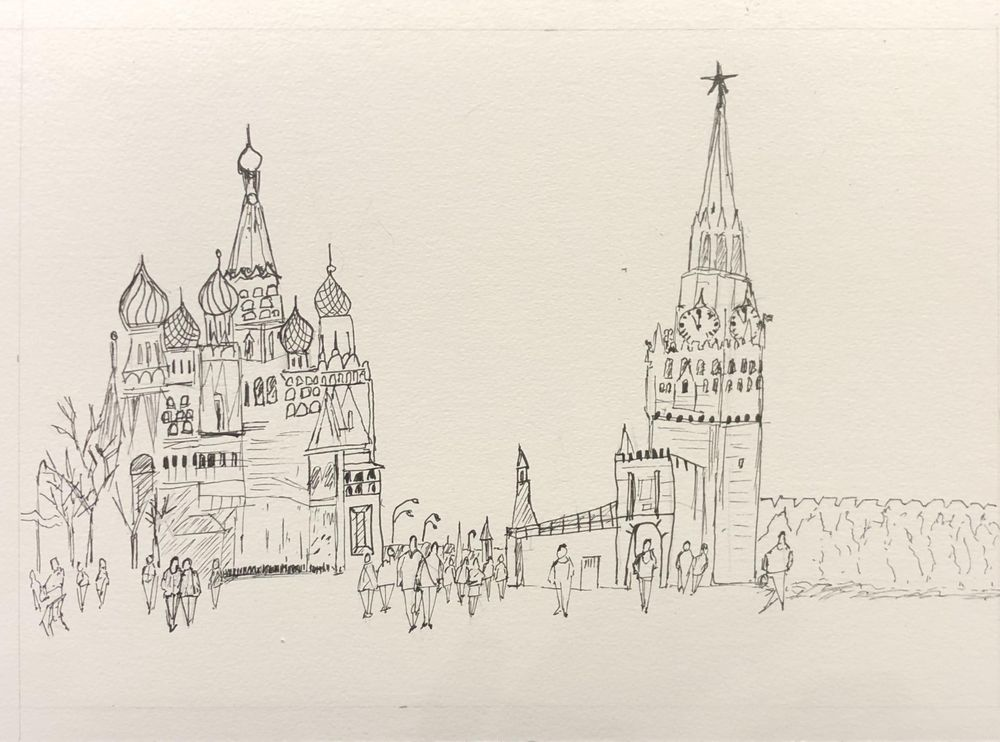 Xmas in Moscow-pen drawing and watercolour - image 2 - student project