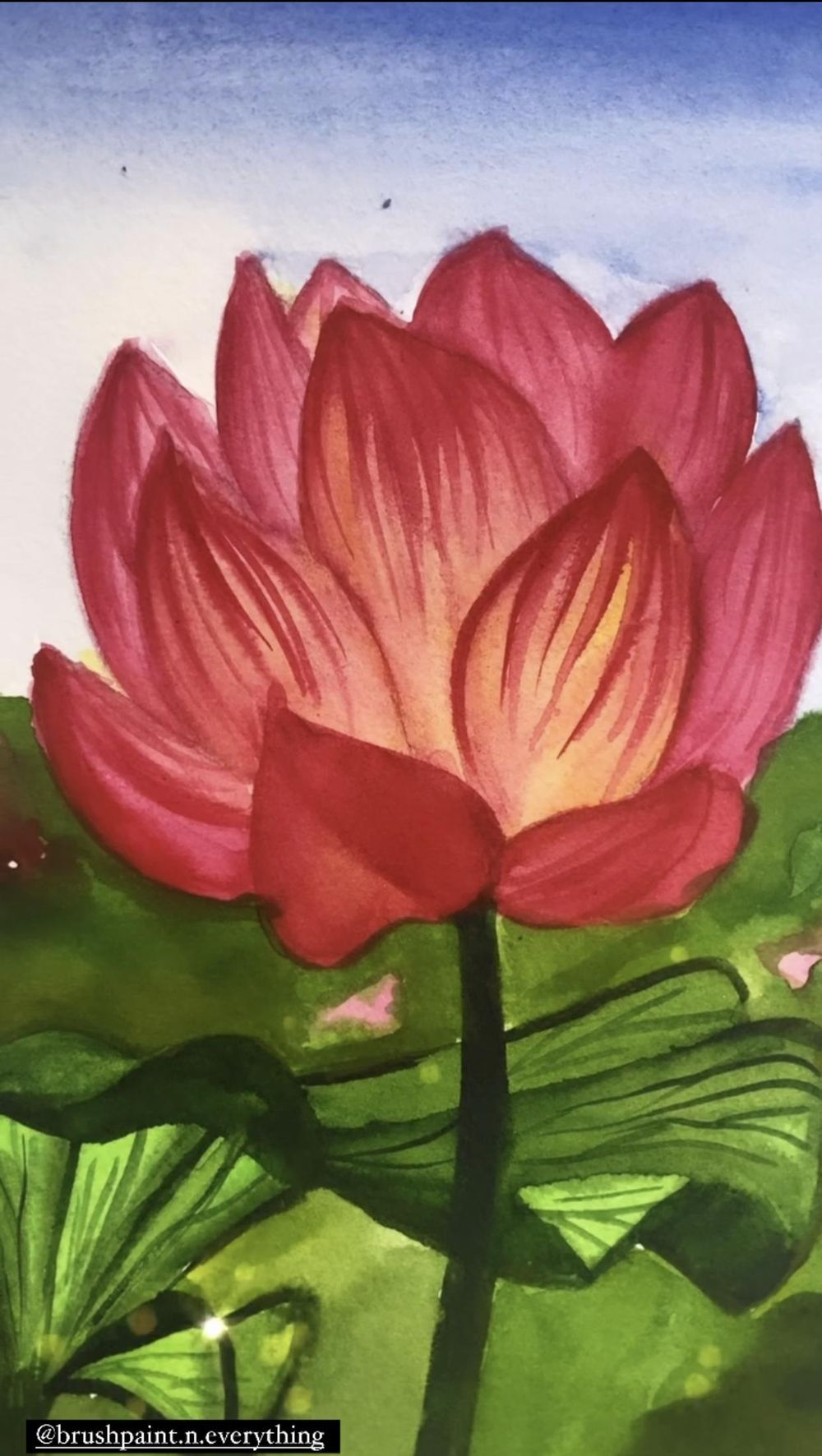 Watercolor lily and Lotus - image 2 - student project