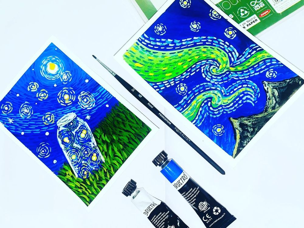 Starry Night Gouache Landscapes - image 1 - student project