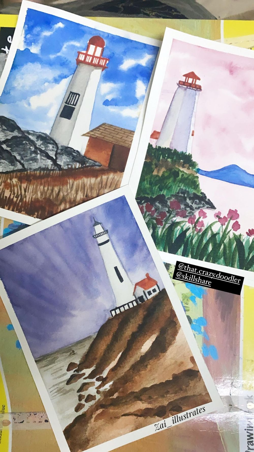 Lighthouse Landscapes in watercolor - image 1 - student project