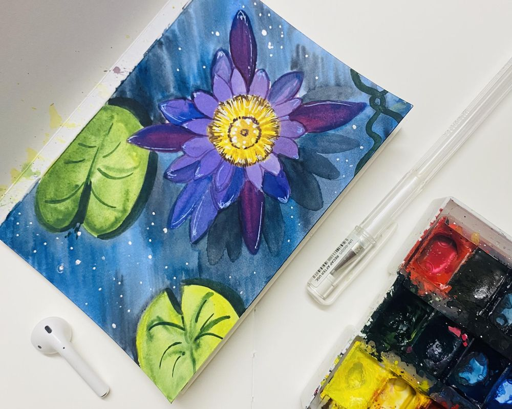 Watercolor lily and Lotus - image 1 - student project