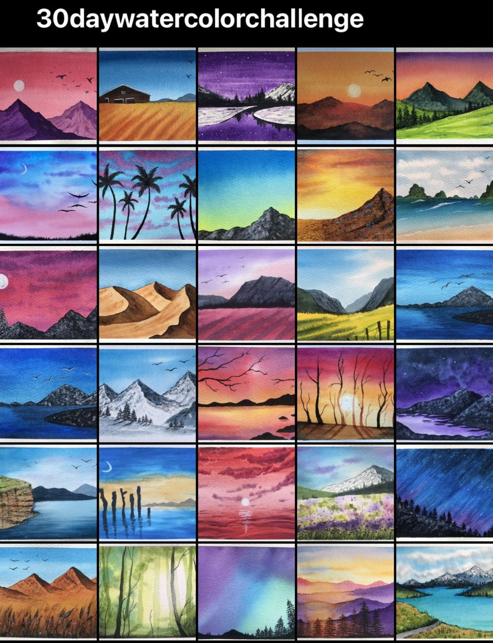 My projects from 30daywatercolorchallenge by Zaneena - image 1 - student project