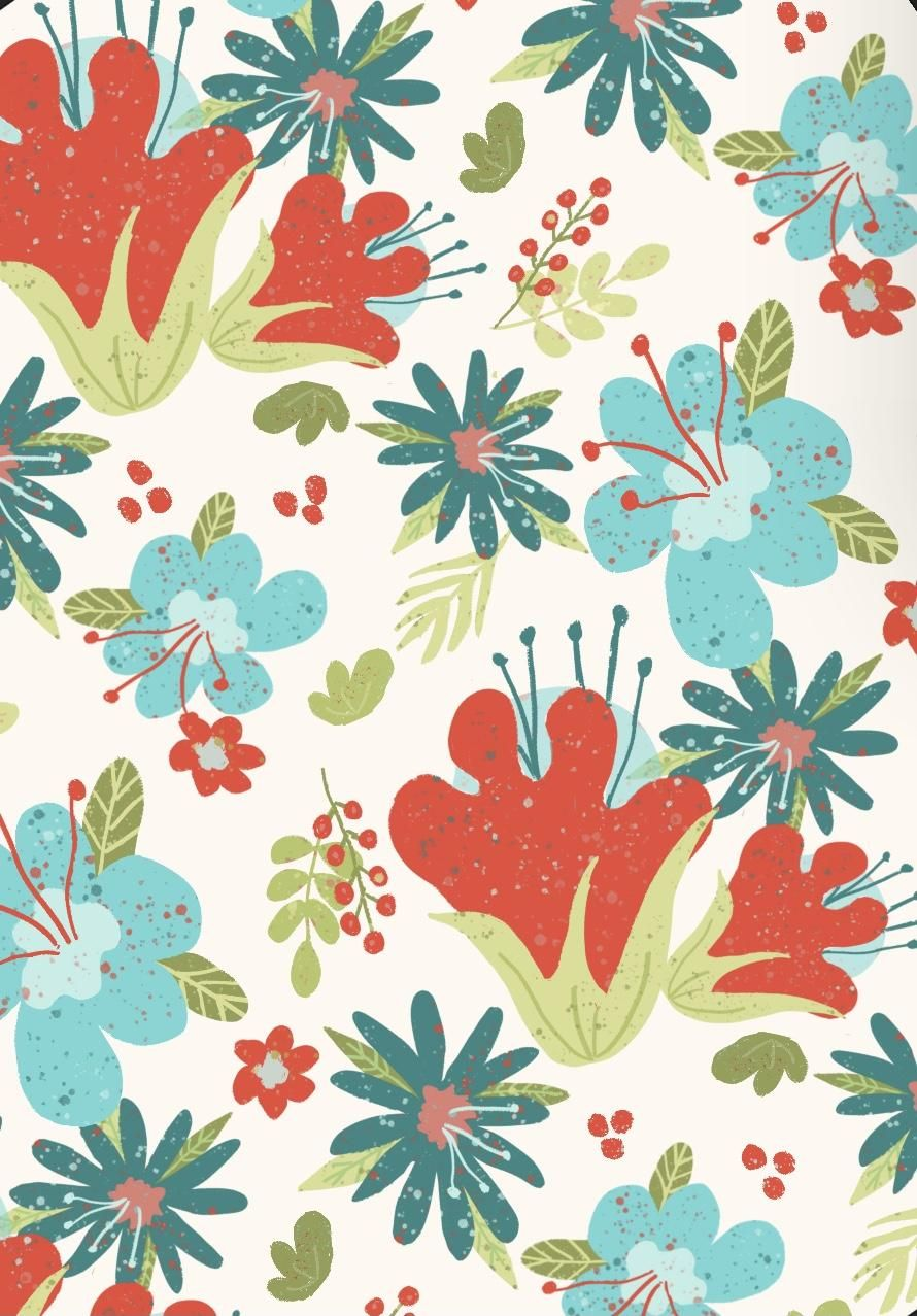 Floral Fantasy repeat pattern - image 2 - student project