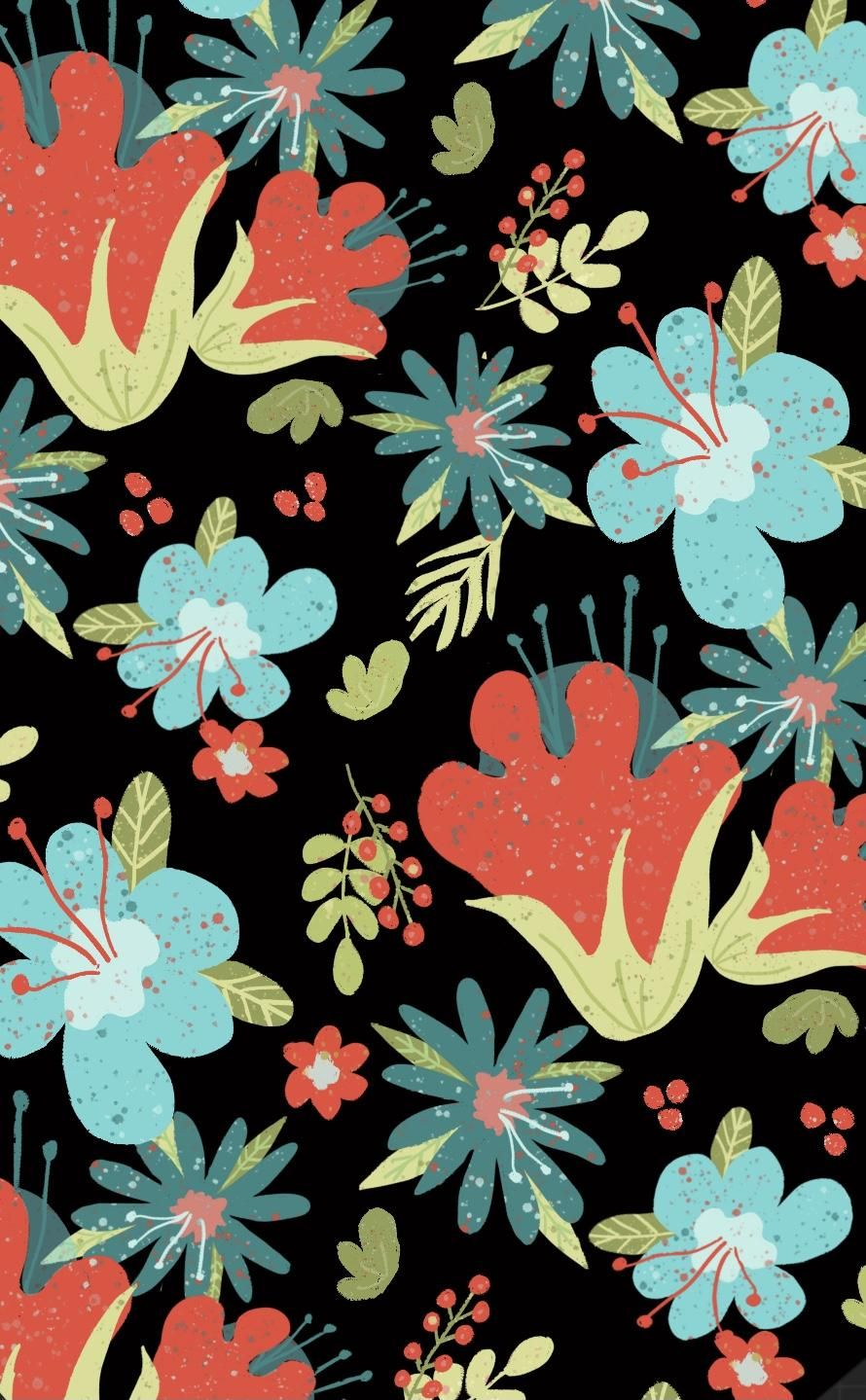Floral Fantasy repeat pattern - image 1 - student project