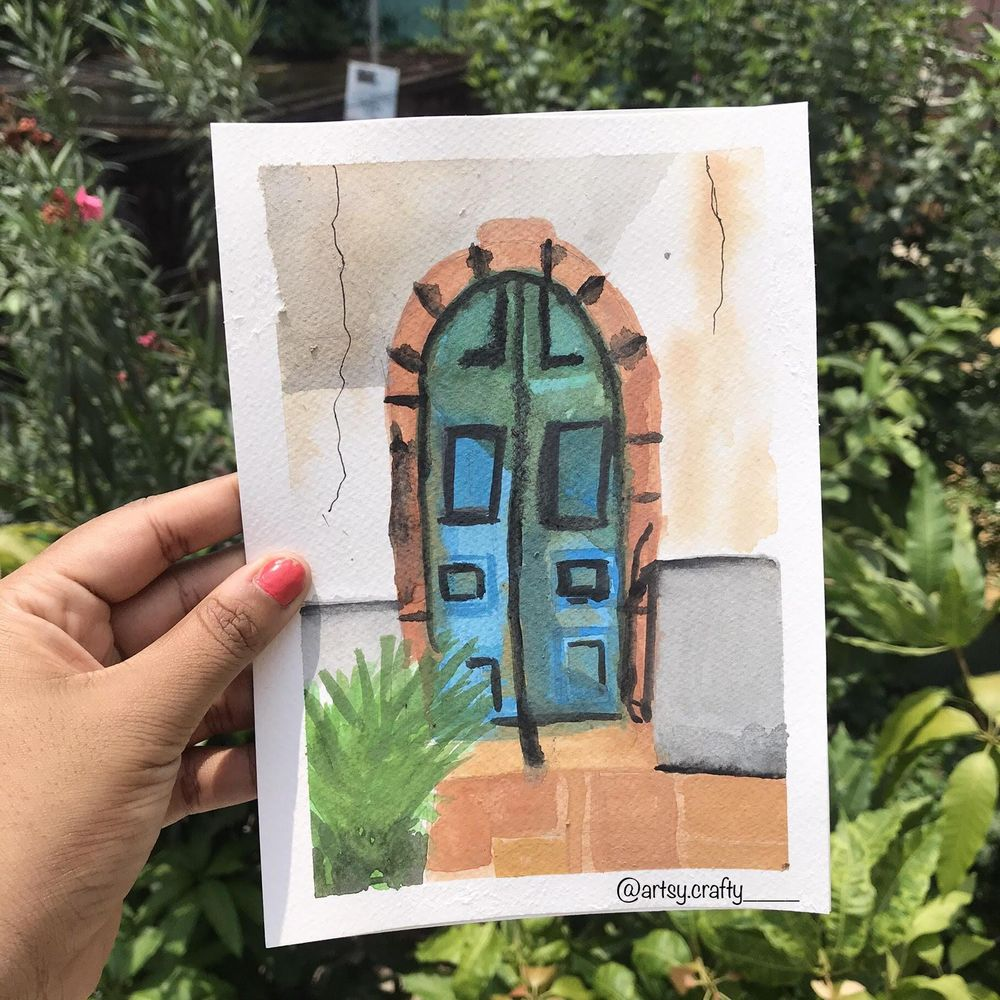 Watercolour Painting (Rustic Doors) - image 4 - student project