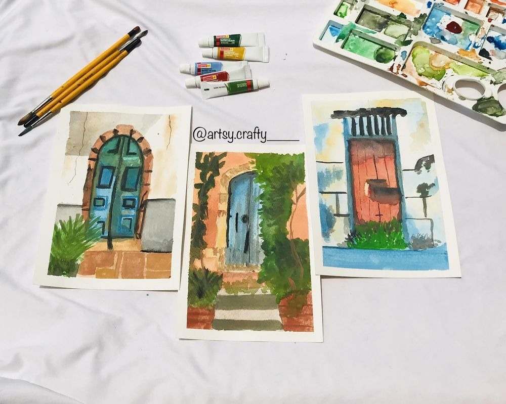 Watercolour Painting (Rustic Doors) - image 1 - student project