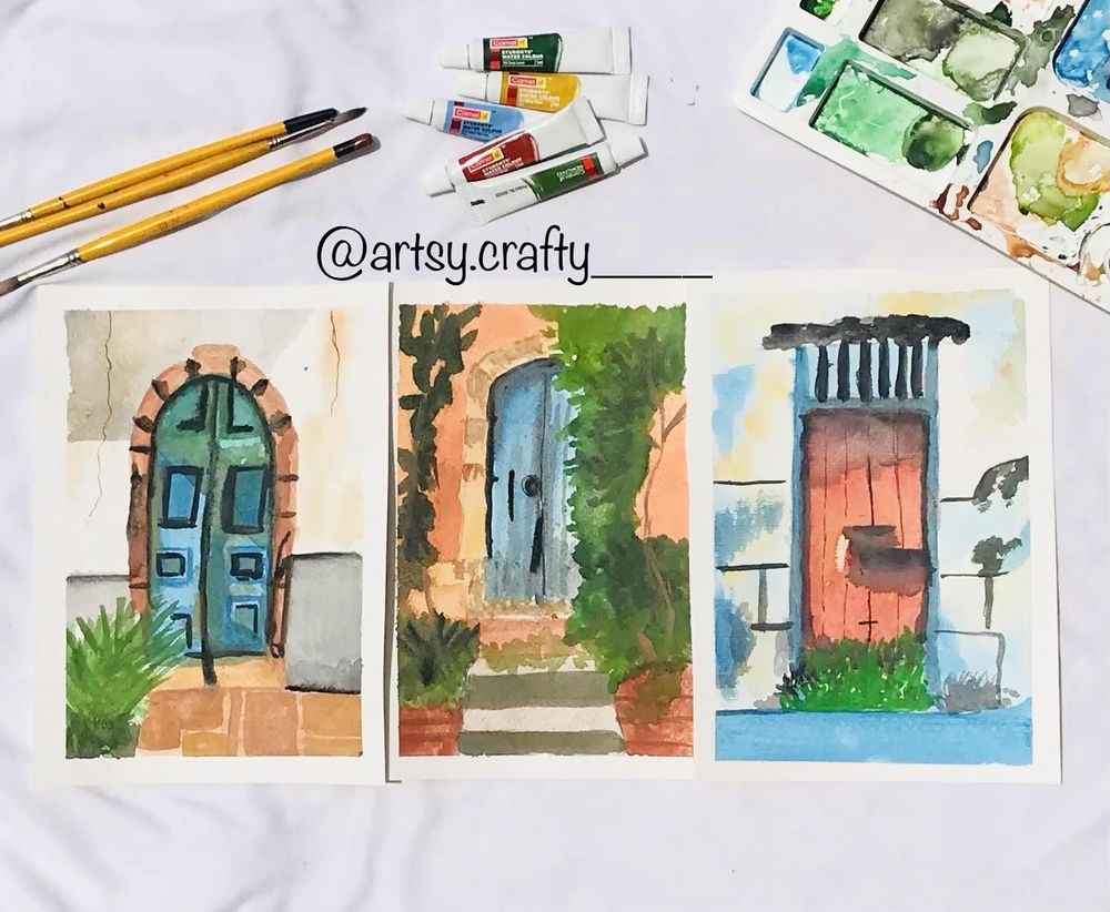 Watercolour Painting (Rustic Doors) - image 5 - student project