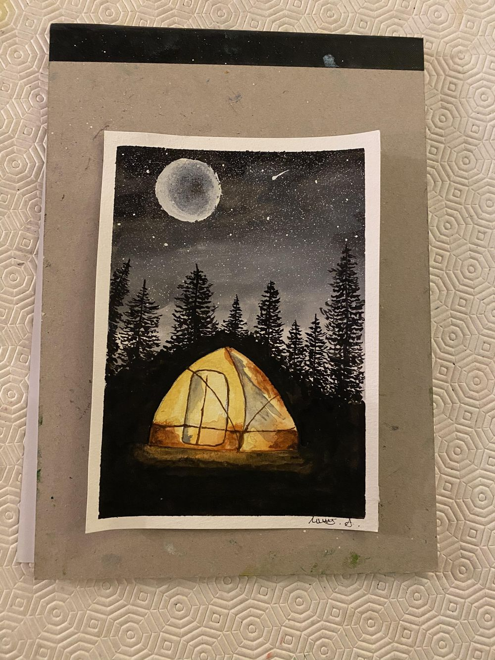 Tent and pine trees in the moonlight - image 1 - student project