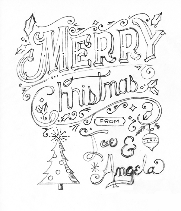 5x7 Hand lettered holiday greeting card - image 3 - student project