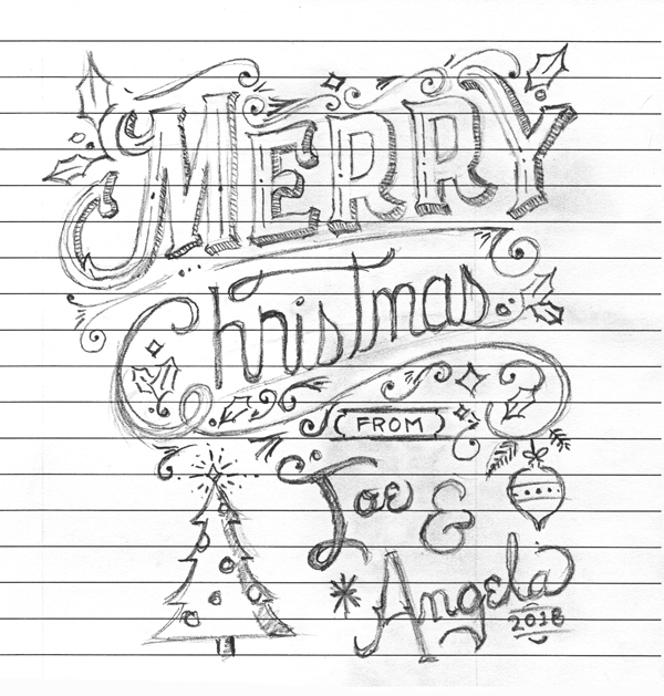 5x7 Hand lettered holiday greeting card - image 2 - student project