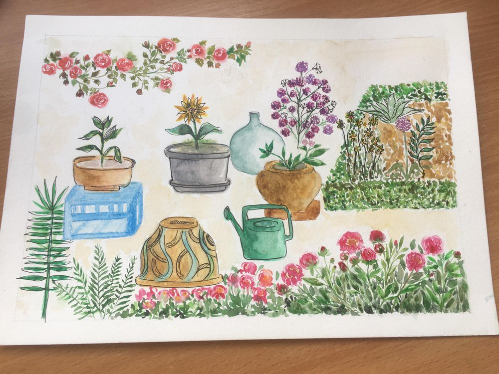 Watercolor garden objects - image 1 - student project