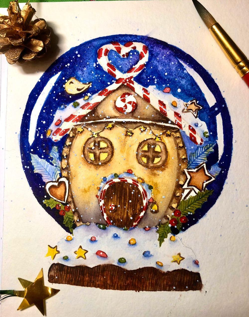 Gingerbread house in a snow globe - image 1 - student project