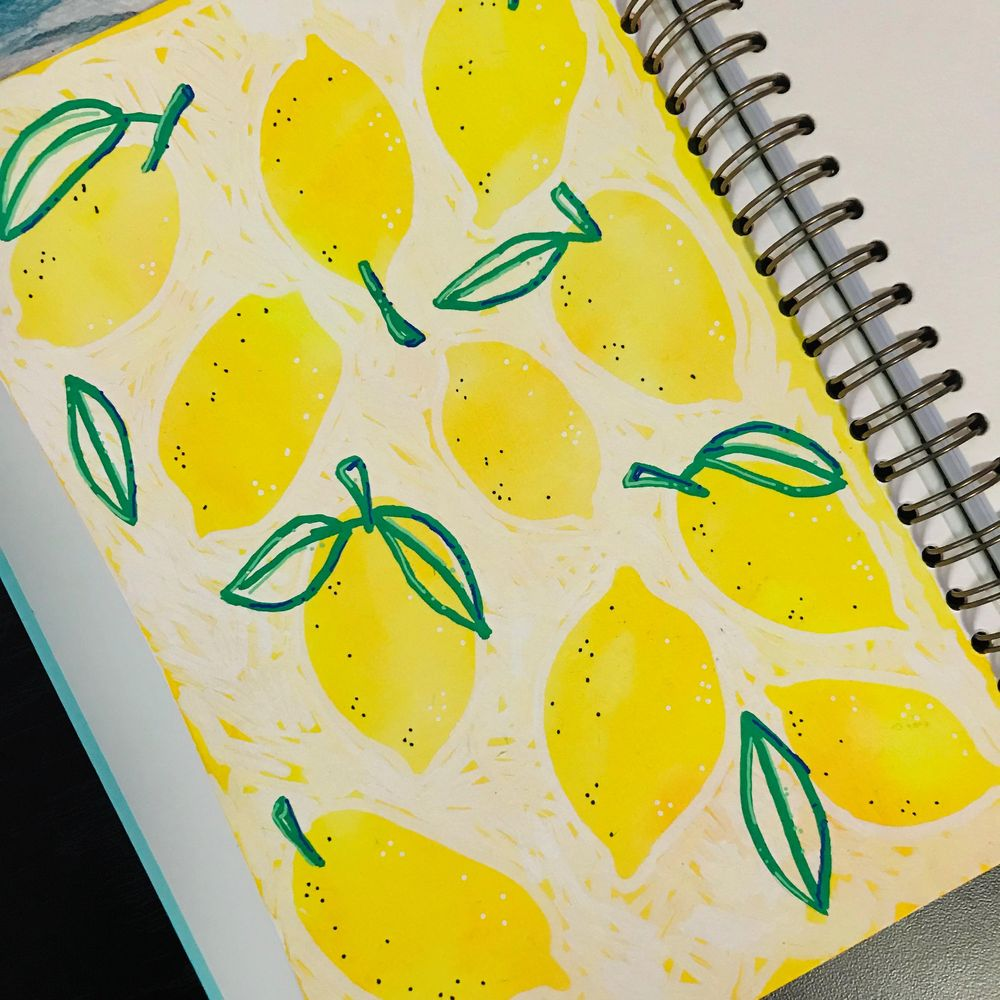 Lemons with water color and Posca Pens - image 1 - student project
