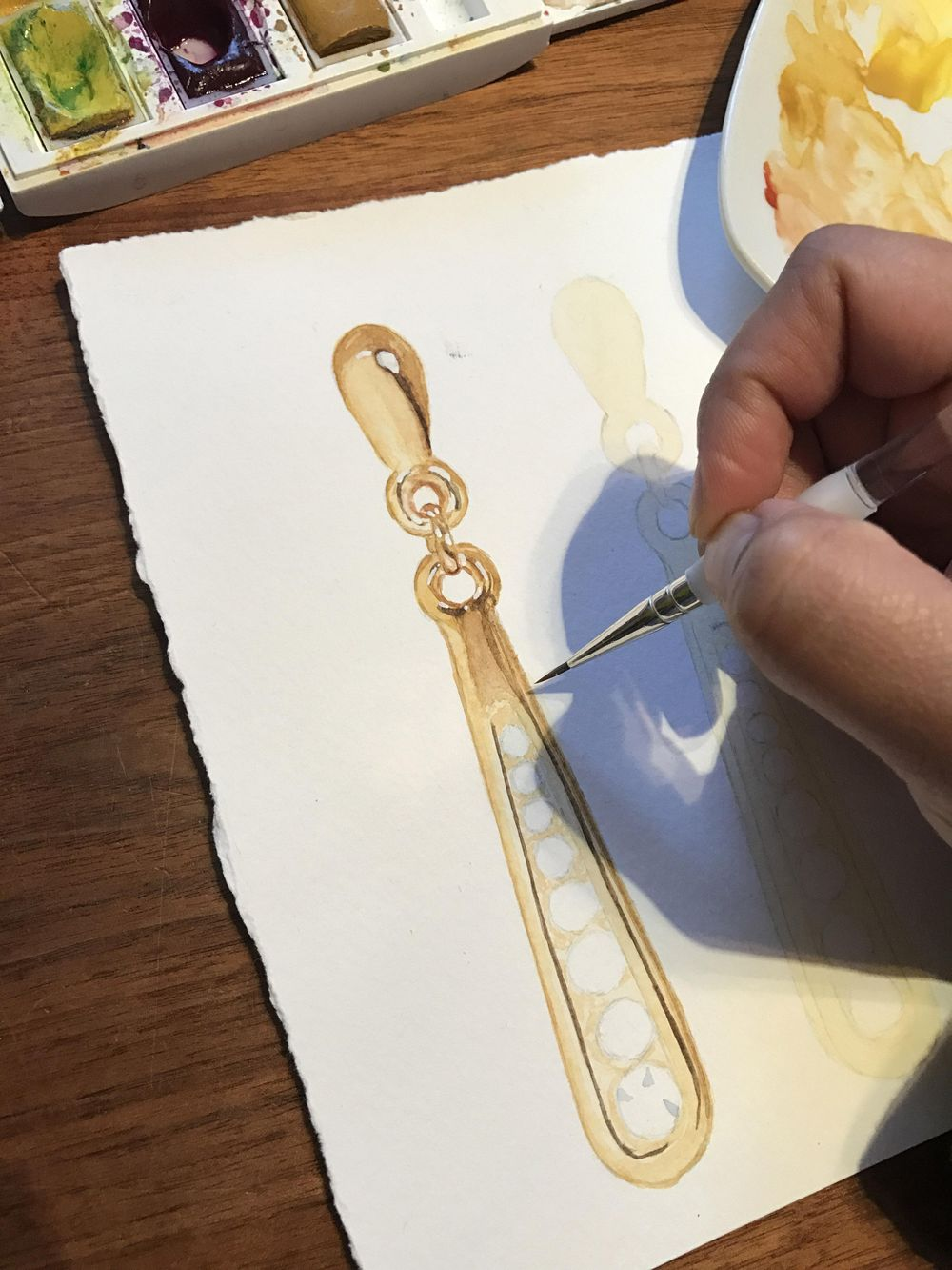 First Watercolour Jewelry! - image 3 - student project
