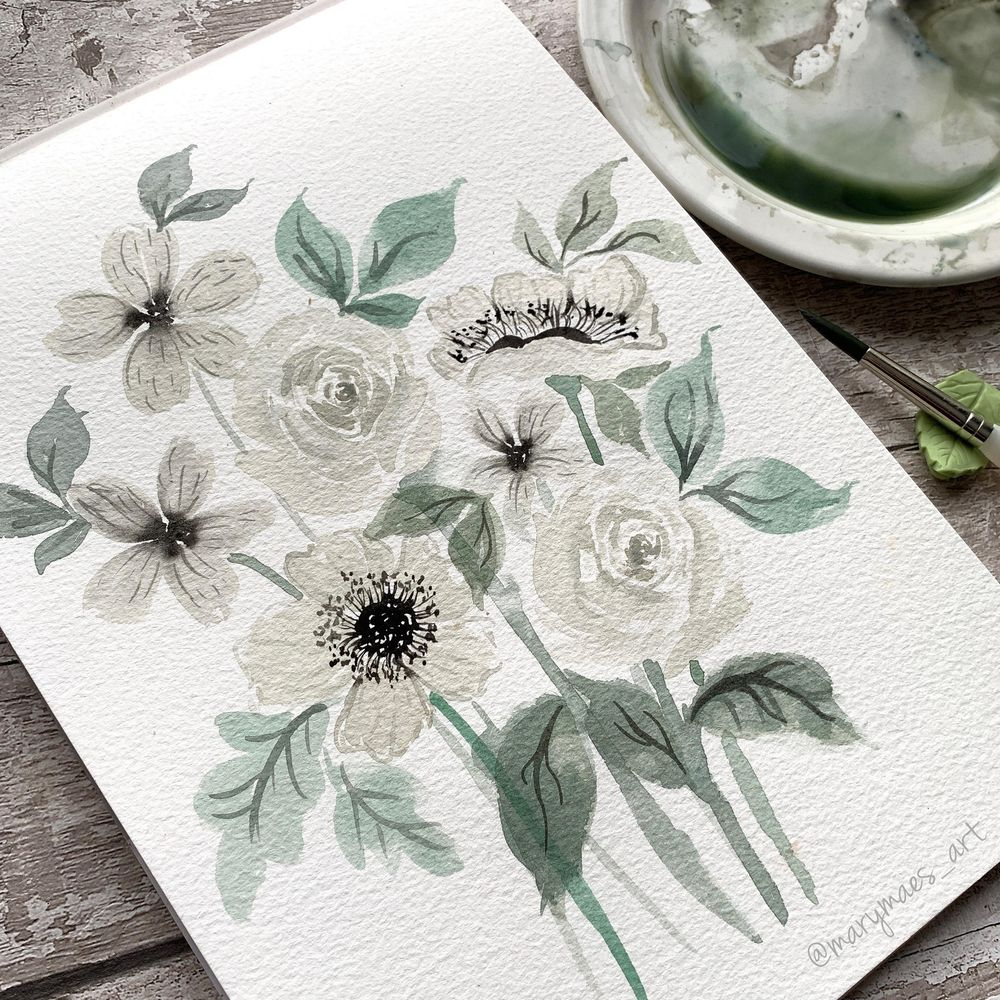 Pretty White Watercolour Florals - image 5 - student project