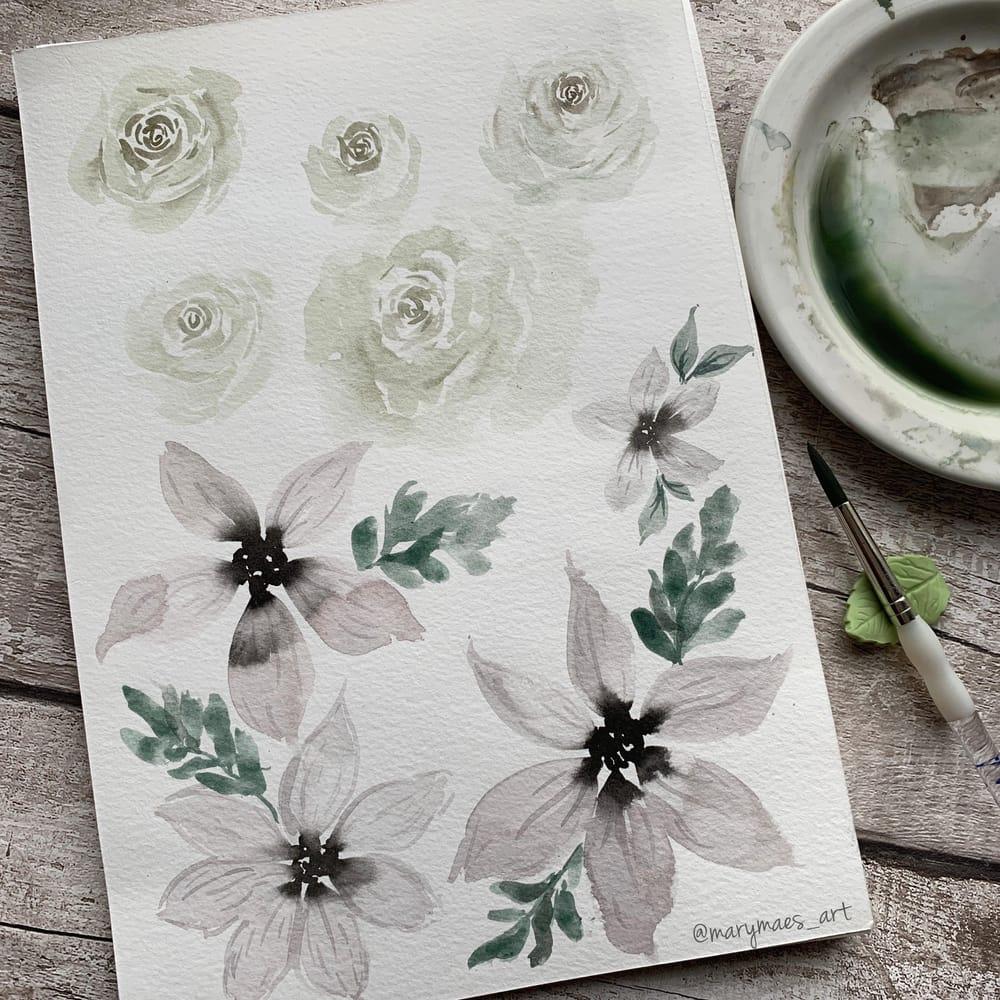 Pretty White Watercolour Florals - image 4 - student project