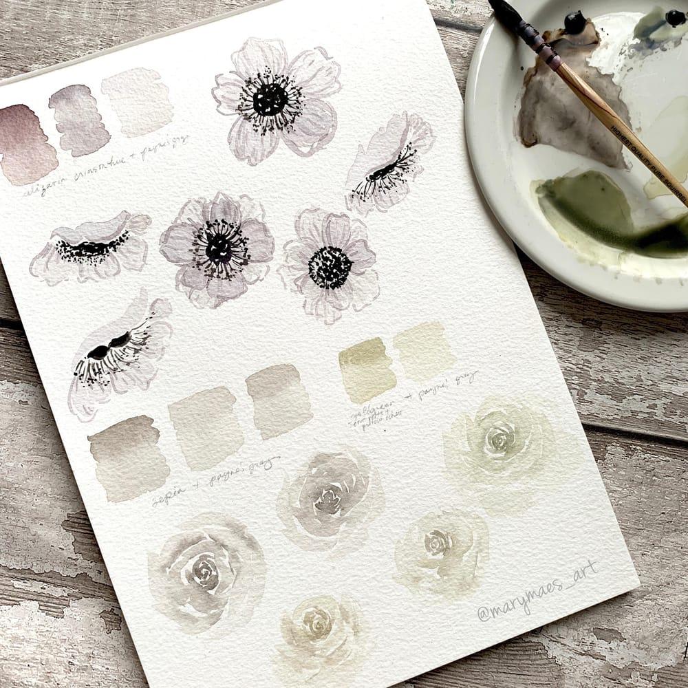 Pretty White Watercolour Florals - image 3 - student project