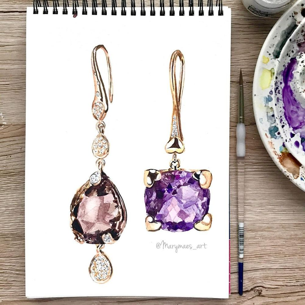First Watercolour Jewelry! - image 7 - student project