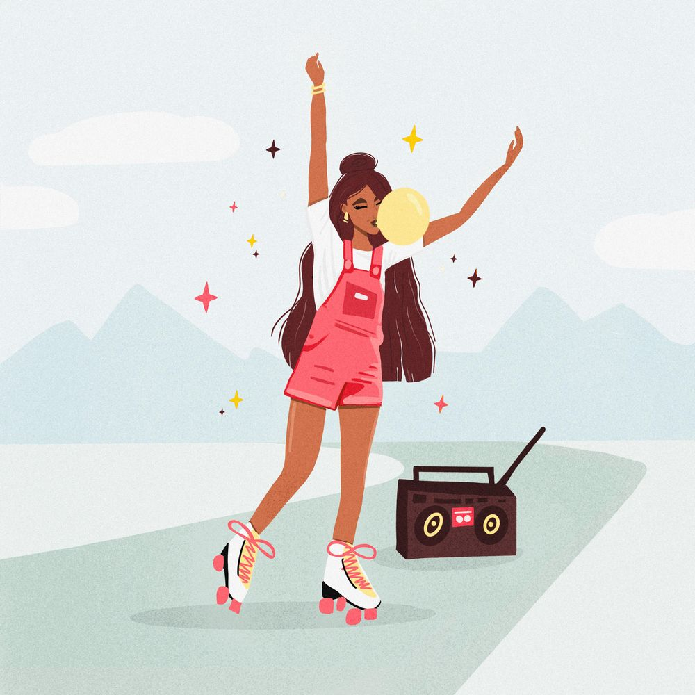 Girl with long hair, roller skates & bubble gum - image 1 - student project