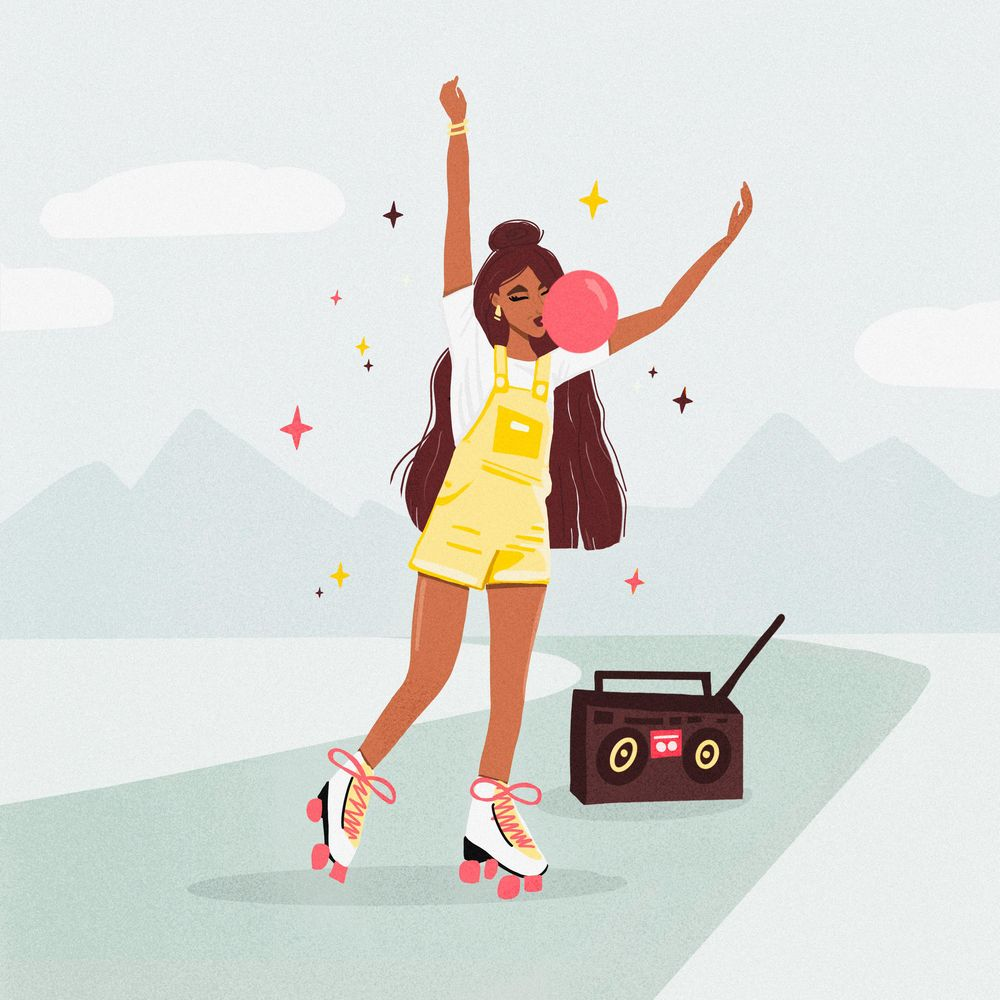Girl with long hair, roller skates & bubble gum - image 2 - student project