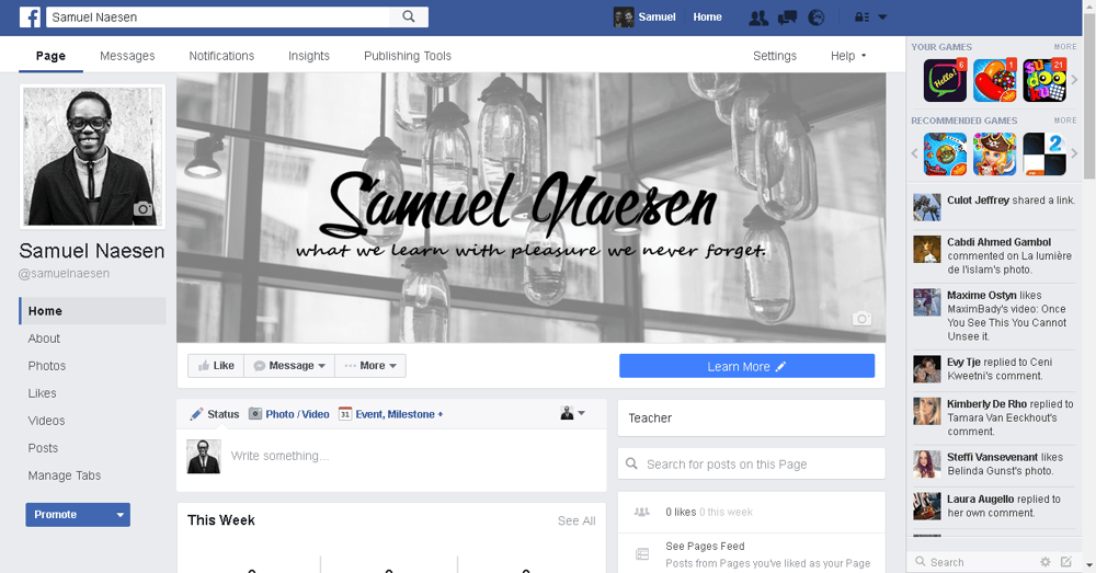My first Fanpage for skillshare - image 1 - student project