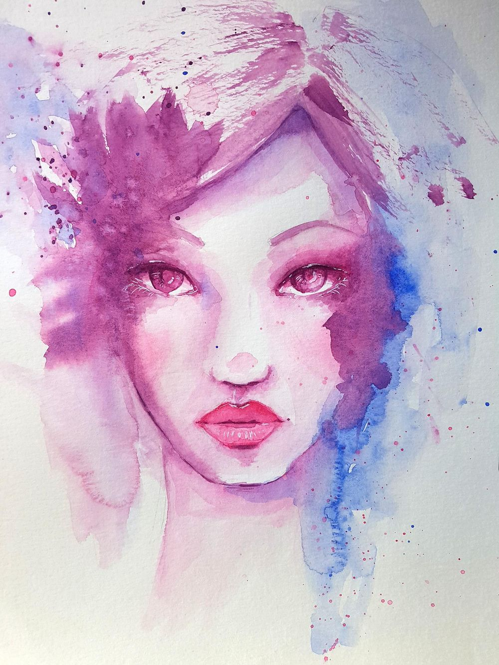 Whimsical Watercolour Face - image 1 - student project