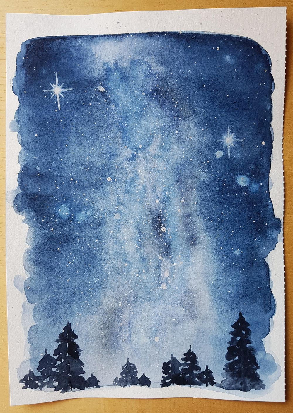 Watercolour Milky Way Night Skies - image 1 - student project
