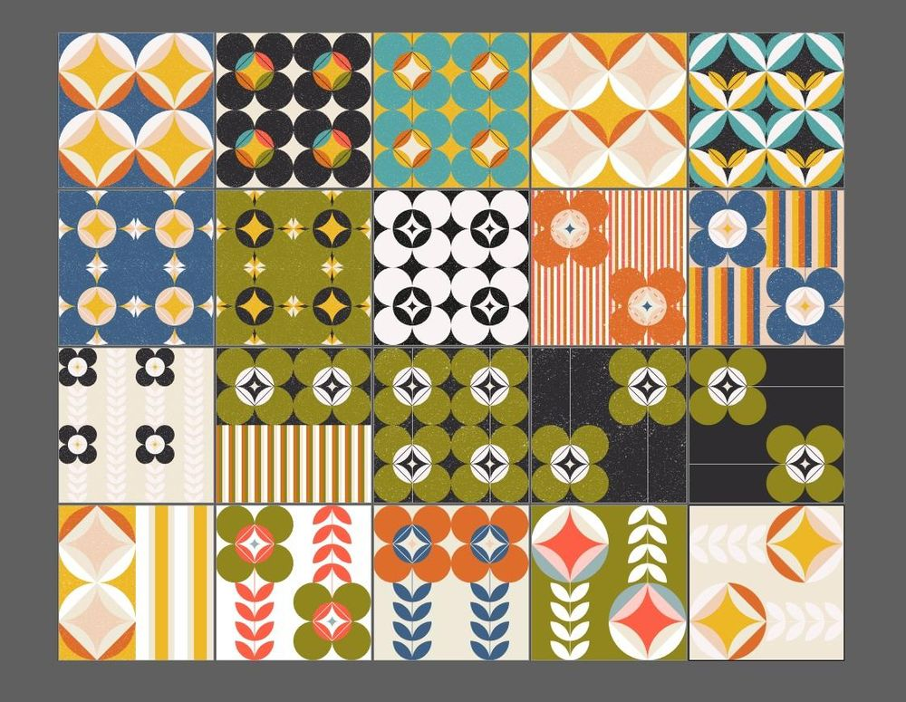 Retro inspired patterns - image 1 - student project
