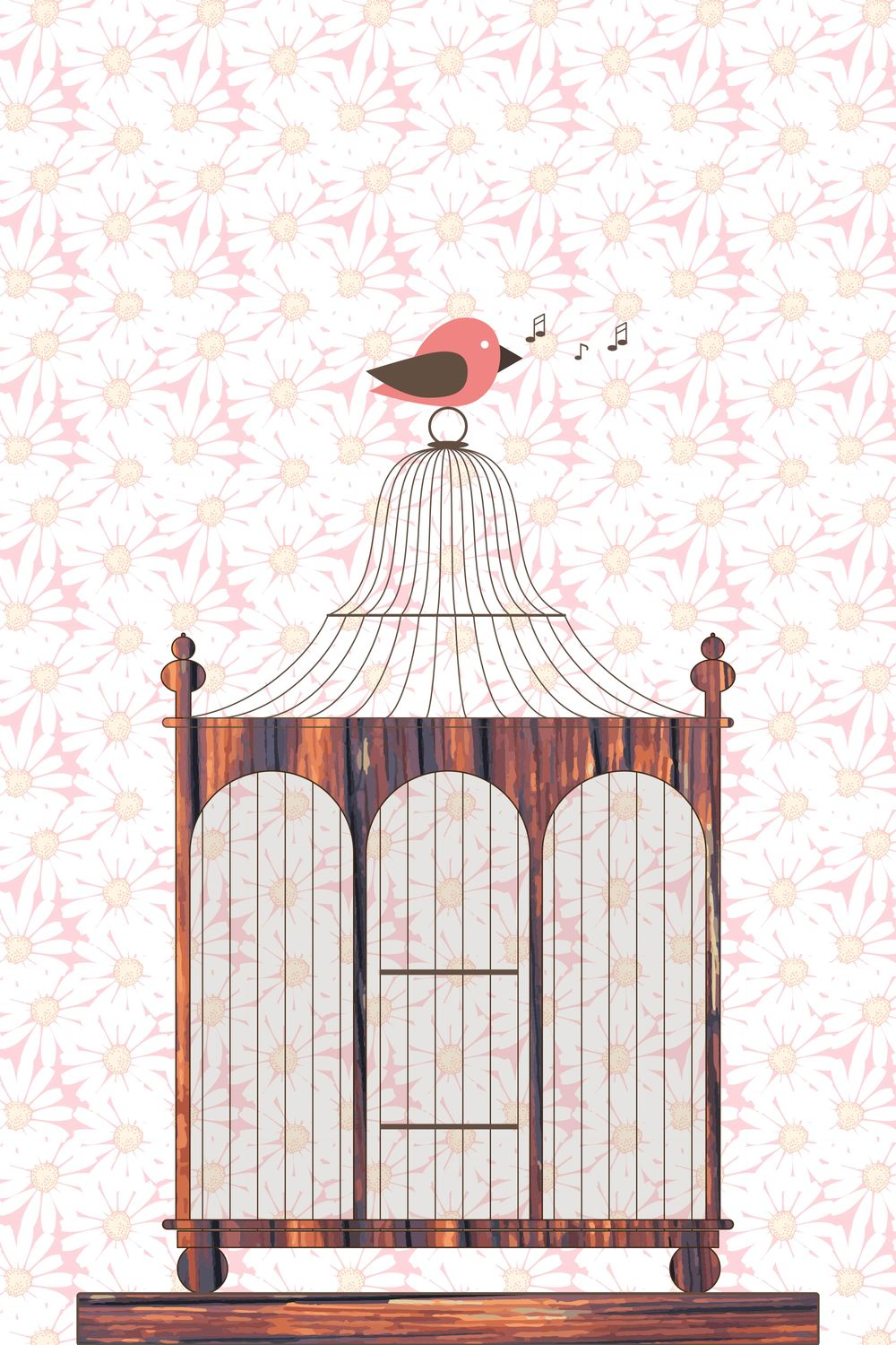 A wooden vintage birdcage with a singing birdie - image 1 - student project