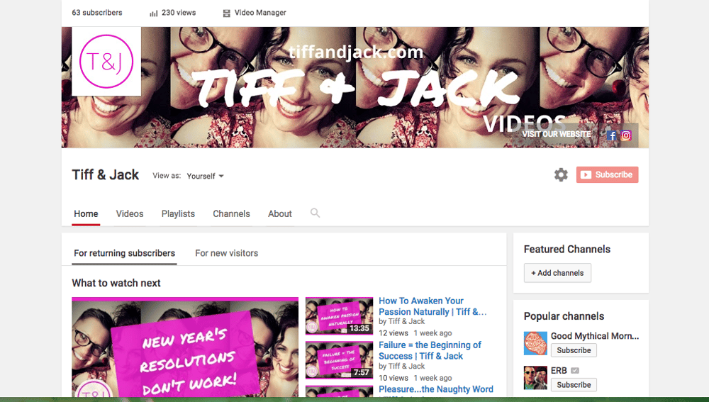 Tiff & Jack YouTube Channel - completed - image 1 - student project