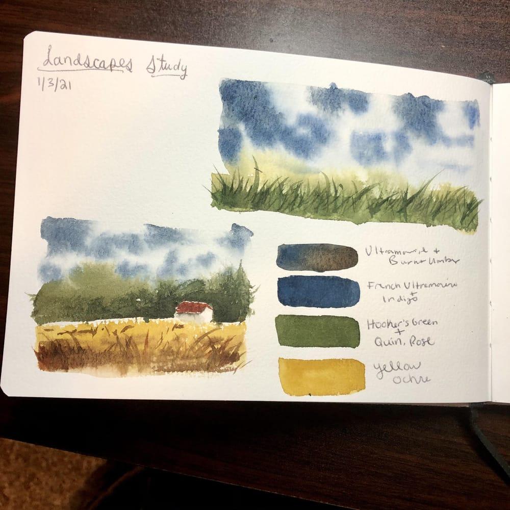 Landscape Study - Watercolor Journal - image 1 - student project