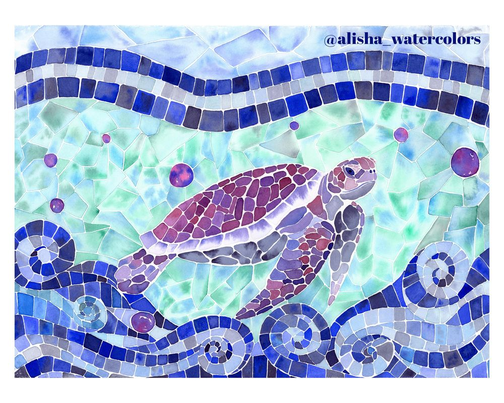 Sea Turtle Watercolor Mosaic - image 1 - student project