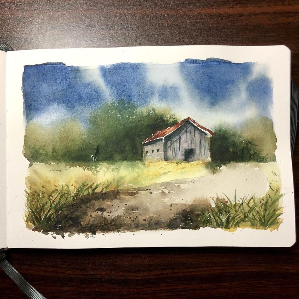Landscape Study - Watercolor Journal - image 2 - student project