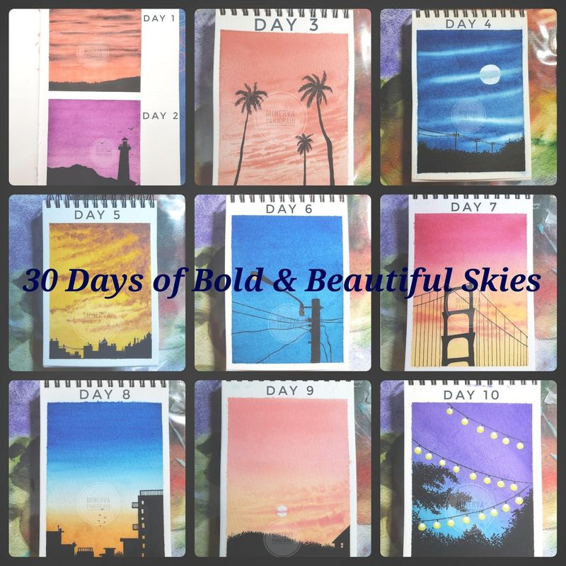 30 Days of Bold and Beautiful Skies Watercolor Challenge
