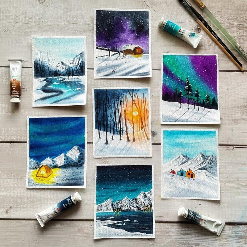 4 Seasons in water colours