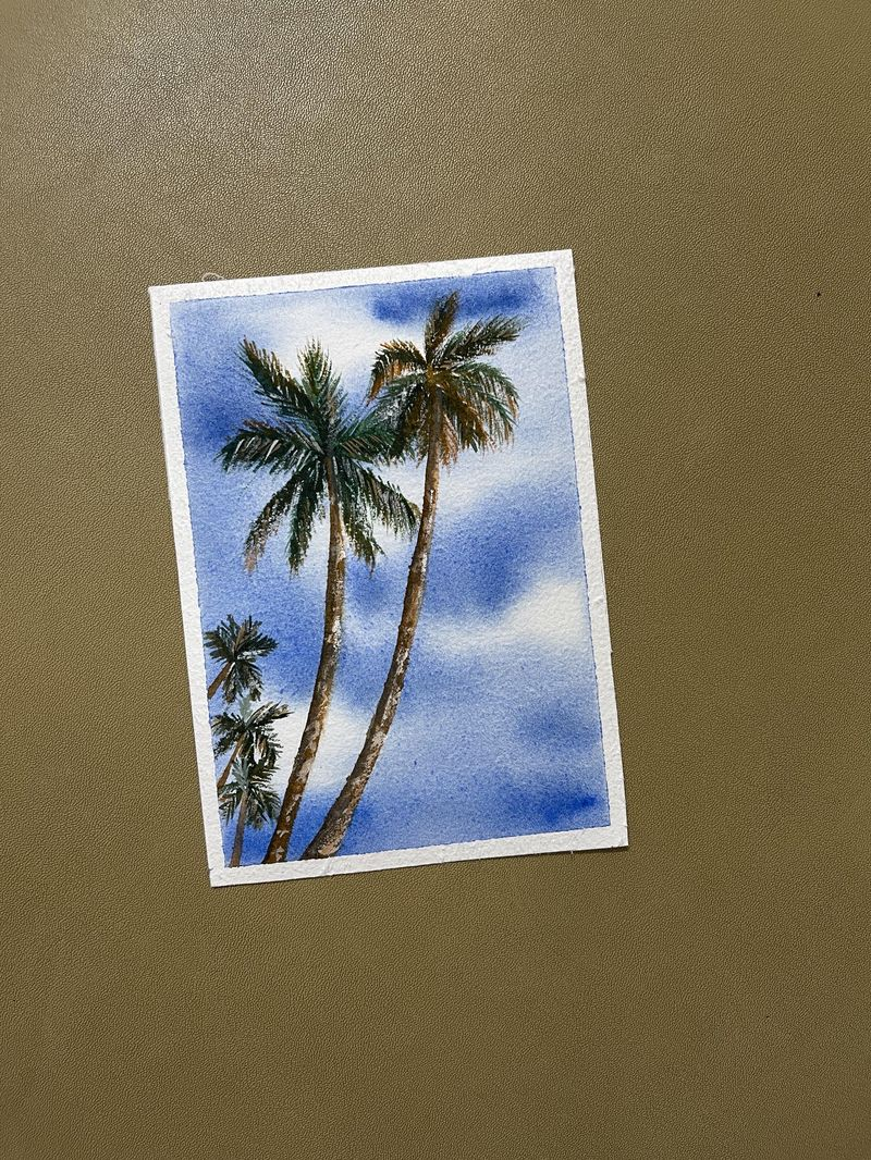 Water color palm trees with Elina
