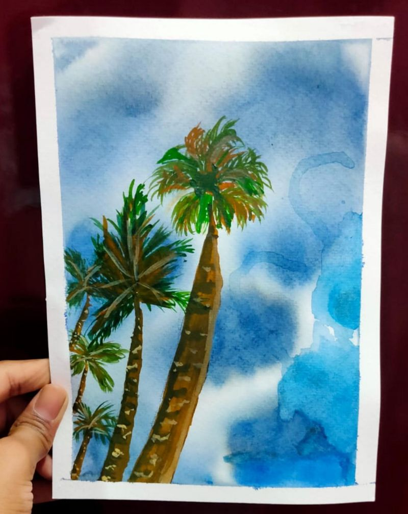 Watercolor palm tree's