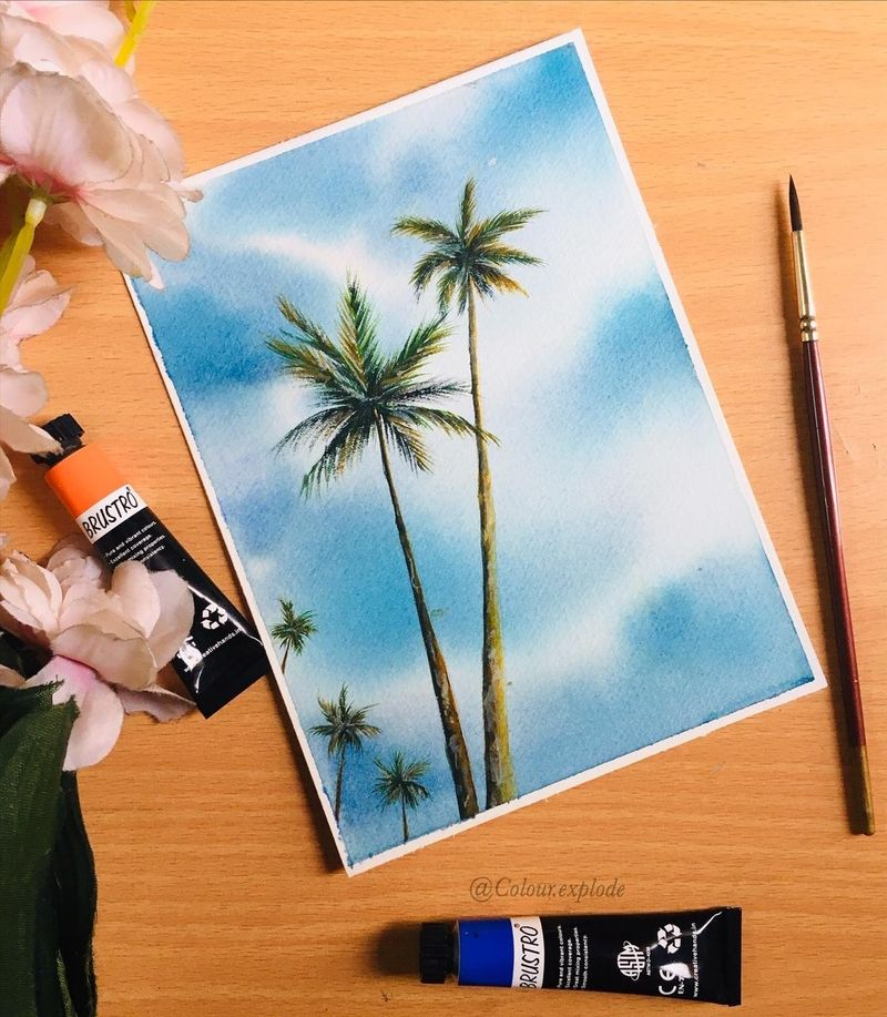 watercolor palm trees for beginners