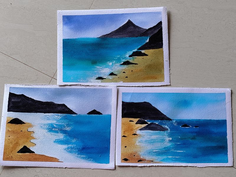 Watercolor Oceanscape