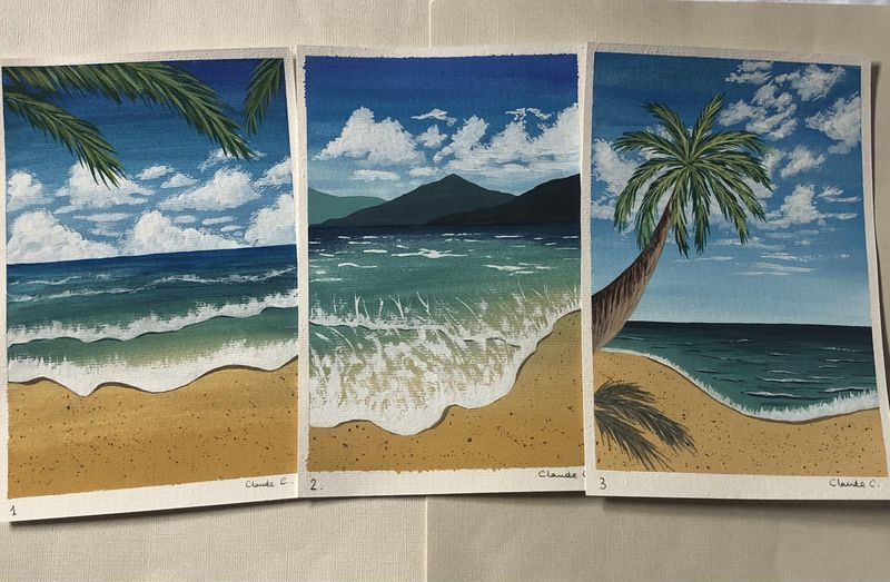 Tropical Beach Landscapes with Gouache