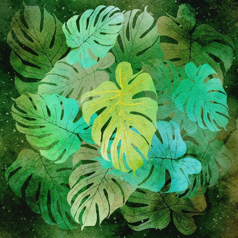 Negative watercolour monstera leaves