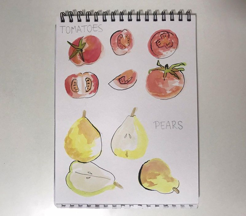 Tomatoes, pears, poppies and sea shells