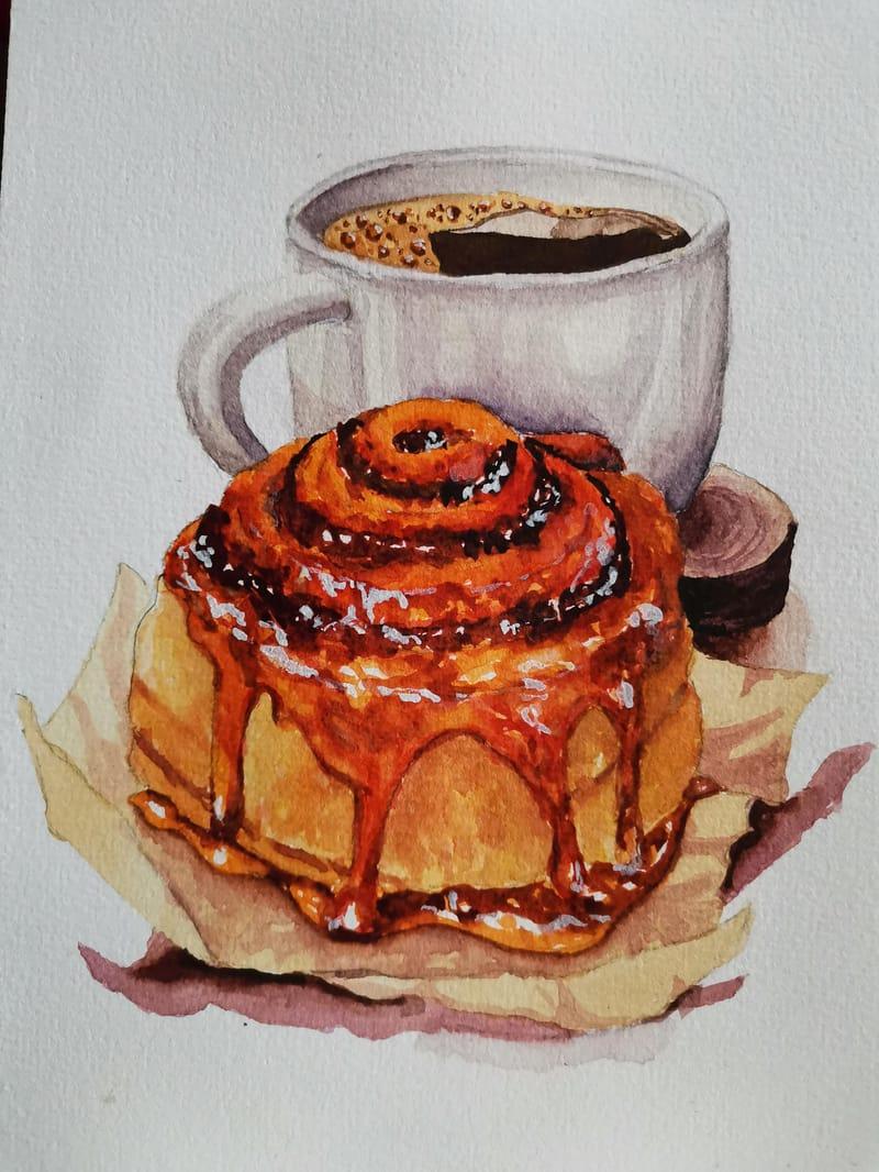 Coffee & cinnamon roll
