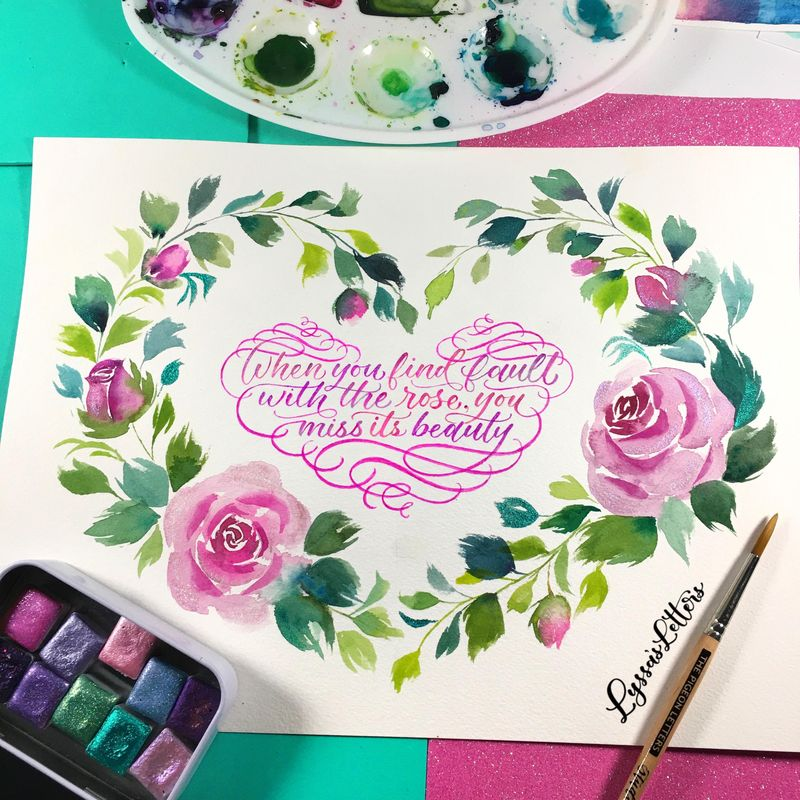 Rose Wreath with Calligraphy