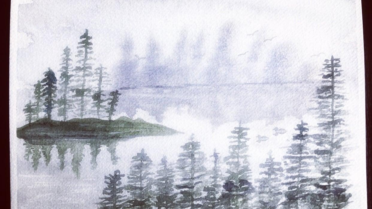 Misty Lake Scene - student project