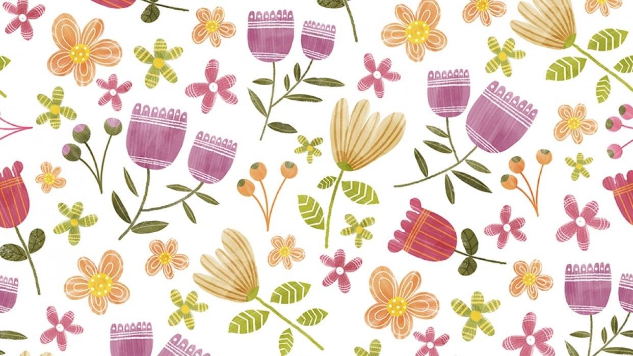 floral half drop - student project