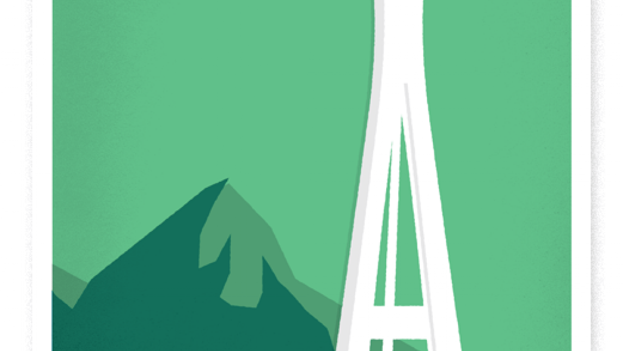 Retro Seattle Travel Ad - student project